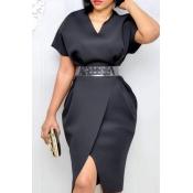 Lovely Trendy V Neck Black Knee Length Dress(Witho