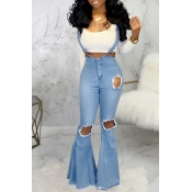 Lovely Casual Flared Hollow-out Blue One-piece Jum