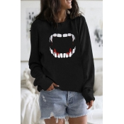 Lovely Casual O Neck Printed Black Hoodie