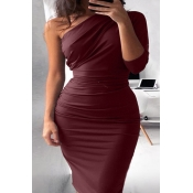 Lovely Casual One Shoulder Wine Red  Knee Length D