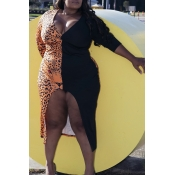 Lovely Leisure Leopard Printed Brown Knee Length Plus Size Dress