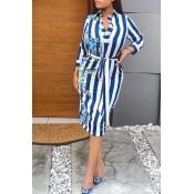 Lovely Casual Striped Waist Skirt Baby Blue Knee L