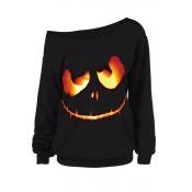 Lovely Halloween Casual Printed Black Sweatshirt H