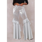 Lovely Sexy Flounce Design Silver Pants