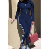 Lovely Casual Basic Striped Dark Blue Two-piece Pa