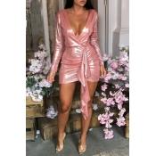 Lovely Chic Deep V Neck Asymmetrical Pink Mini Dre