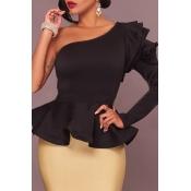 Lovely Trendy Flounce Design Black Blouse
