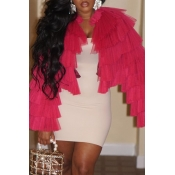 Lovely Trendy Cascading Ruffle Rose Red Coat