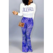 Lovely Casual Letter Printed Blue Two-piece Pants