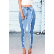 Lovely Casual Patchwork Blue Jeans
