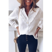 Lovely Sweet Turndown Collar White Blouse