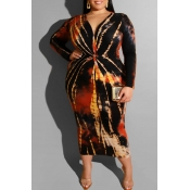Lovely Casual Printed Red Mid Calf Plus Size Dress