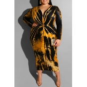 Lovely Casual Printed Yellow Mid Calf Plus Size Dress