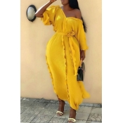 Lovely Casual V Neck Ruffle Design Yellow Ankle Le
