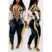 Lovely Casual Tassel Design Black PU Pants