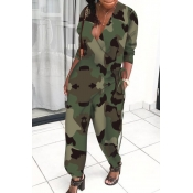 Lovely Trendy V Neck Loose Army Green One-piece Ju