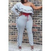 Lovely Casual One Shoulder Flounce Grey Plus Size