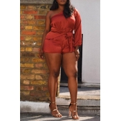 Lovely Casual Dew Shoulder Brown Plus Size One-pie