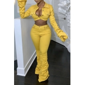 Lovely Casual Ruffle Design Yellow Two-piece Pants Set