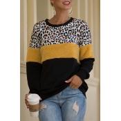 Lovely Casual Patchwork Leopard Sweatshirt Hoodie