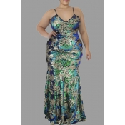 Lovely Casual Sequined Design Green Floor Length P