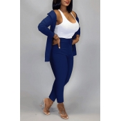 Lovely Work Basic Blue Two-piece Pants Set(Without