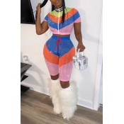 Lovely Sweet Patchwork Multicolor Two-piece Shorts