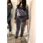 Lovely Leisure Basic Grey Two-piece Pants Set