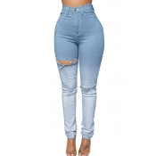 Lovely Casual Broken Holes Skinny Baby Blue Jeans