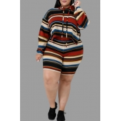 Lovely Casual Hooded Collar Striped Printed Multic