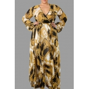 Lovely Casual V Neck Printed Yellow Floor Length P