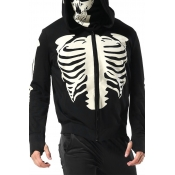 Lovely Casual Skull Printed Black Hoodie