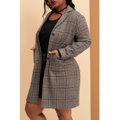Lovely Casual Plaid Printed Coffee Plus Size Blaze
