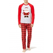 Lovely Christmas Day Patchwork Red Two-piece Pants