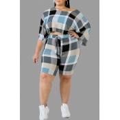 Lovely Casual Plaid Printed Blue Plus Size Two Two