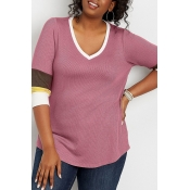 Lovely Casual V Neck Patchwork Pink Plus Size T-sh