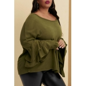 Lovely Trendy Flounce Design Green Plus Size Blous