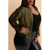Lovely Trendy Patchwork Army Green Plus Size Jacke
