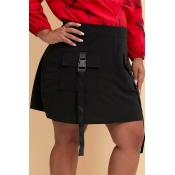 Lovely Casual Pockets Design Black Plus Size Skirt