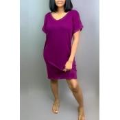 Lovely Leisure V Neck Purple Knee Length Dress