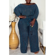 Lovely Casual Striped Dark Blue Plus Size Two-piec