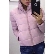 Lovely Casual Turndown Collar Light Pink Coat