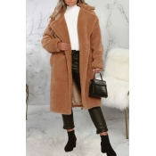 Lovely Trendy Winter Turn-down Collar Brown Teddy