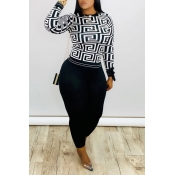 Lovely Casual Printed Black Two-piece Pants Set