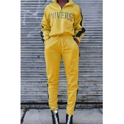 Lovely Casual Turndown Collar Yellow Two-piece Pan