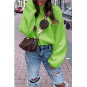 Lovely Casual Turtleneck Green Sweatshirt