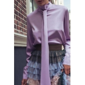 Lovely Work Lace-up Purple Blouse