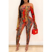 Lovely Leisure Snakeskin Printed Skinny One-piece