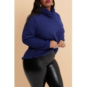 Lovely Casual Turtleneck Navy Blue Plus Size Sweat