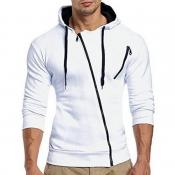 Lovely Leisure Patchwork Zipper Design White Hoodie